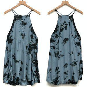 Honey Punch Blue & Black Tie Dye Dress - Size L